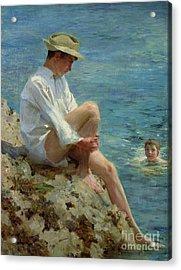 Boys Bathing Acrylic Print by Henry Scott Tuke