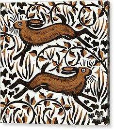 Bramble Hares Acrylic Print by Nat Morley