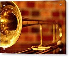 Brass Trombone Acrylic Print by David  Hubbs