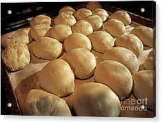 Bread Dough Resting In Preparation Of Being Cooked In A Bakery Acrylic Print by Sami Sarkis