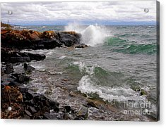 Breaking On The Point Acrylic Print by Sandra Updyke