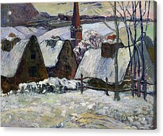 Breton Village Under Snow Acrylic Print by Paul Gauguin