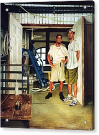 Brew Dudes Acrylic Print by Gregg Hinlicky