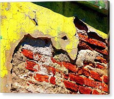 Bricks And Yellow By Michael Fitzpatrick Acrylic Print by Mexicolors Art Photography