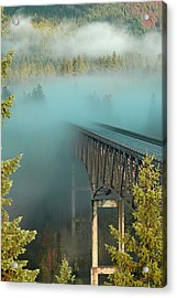 Bridge In The Mist Acrylic Print by Annie Pflueger