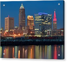 Bright Lights In Cleveland Acrylic Print by Frozen in Time Fine Art Photography