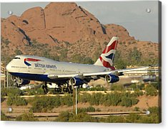 British Airways Boeing 747-436 G-civa Phoenix Sky Harbor October 26 2010 Acrylic Print by Brian Lockett