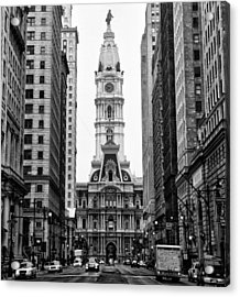 Broad Street At City Hall Acrylic Print by Bill Cannon