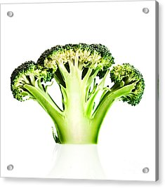 Broccoli Cutaway On White Acrylic Print by Johan Swanepoel