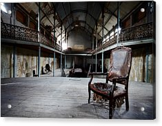 Broken Chair At Deserted Theatre - Abandoned Places Urban Explor Acrylic Print by Dirk Ercken