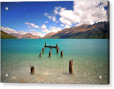 Broken Pier At Sea Acrylic Print by Photography By Anthony Ko