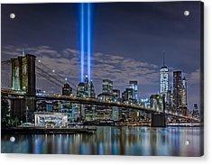 Brooklyn Bridge 911 Tribute Acrylic Print by Susan Candelario