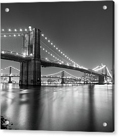 Brooklyn Bridge At Night Acrylic Print by Adam Garelick