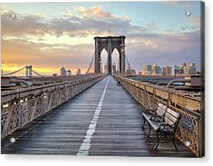 Brooklyn Bridge At Sunrise Acrylic Print by Anne Strickland Fine Art Photography