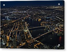 Brooklyn Manhattan And Williamsburg Bridges Aerial View Acrylic Print by Susan Candelario
