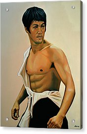 Bruce Lee Painting Acrylic Print by Paul Meijering