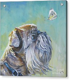 Brussels Griffon With Butterfly Acrylic Print by Lee Ann Shepard