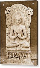 Buddha Preaching. Sculpture Discovered Acrylic Print by Vintage Design Pics