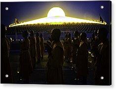 Buddhist Monks At Wat Dhamma Prays Acrylic Print by David Longstreath