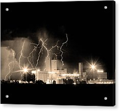 Budweiser Lightning Thunderstorm Moving Out Bw Sepia Crop Acrylic Print by James BO  Insogna