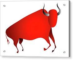Bull Looks Like Cave Painting Acrylic Print by Michal Boubin