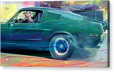 Bullitt Mustang Acrylic Print by David Lloyd Glover