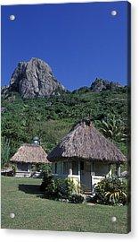 Bure Huts And Vatu Vula Peak Acrylic Print by Rich Reid