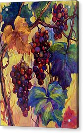 Burgundy Grapes Acrylic Print by Peggy Wilson