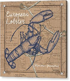 Burlap Lobster Acrylic Print by Debbie DeWitt