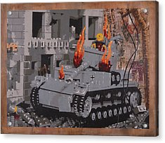 Burning Panzer Iv Acrylic Print by Josh Bernstein