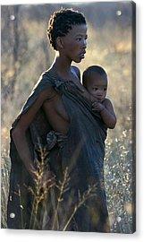 Bushmen Mother And Child Acrylic Print by Miranda  Miranda