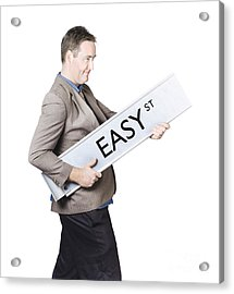 Businessman Travelling To Easy Street Acrylic Print by Jorgo Photography - Wall Art Gallery