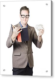 Businessman With Book And Crumpled Paper Acrylic Print by Jorgo Photography - Wall Art Gallery