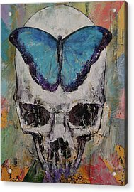 Butterfly Skull Acrylic Print by Michael Creese