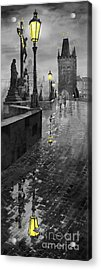 Bw Prague Charles Bridge 01 Acrylic Print by Yuriy  Shevchuk