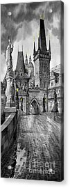 Bw Prague Charles Bridge 02 Acrylic Print by Yuriy  Shevchuk