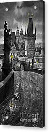 Bw Prague Charles Bridge 03 Acrylic Print by Yuriy  Shevchuk