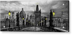 Bw Prague Charles Bridge 04 Acrylic Print by Yuriy  Shevchuk
