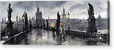 Bw Prague Charles Bridge 05 Acrylic Print by Yuriy  Shevchuk