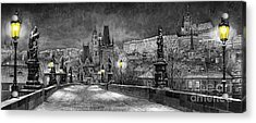 Bw Prague Charles Bridge 06 Acrylic Print by Yuriy  Shevchuk