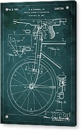 Bycicle Attached Toy Machine Gun Patent Blueprint, Year 1951 Green Vintage Art Acrylic Print by Pablo Franchi