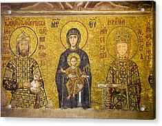 Byzantine Mosaic In Hagia Sophia Acrylic Print by Artur Bogacki