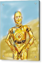 C3po Acrylic Print by Russell Pierce