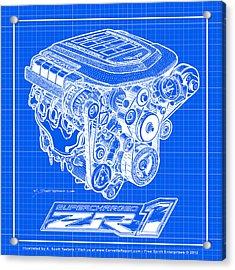 C6 Zr1 Corvette Ls9 Engine Blueprint Acrylic Print by K Scott Teeters
