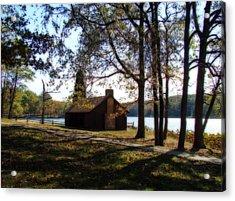 Cabin By The Lake Acrylic Print by Sandy Keeton