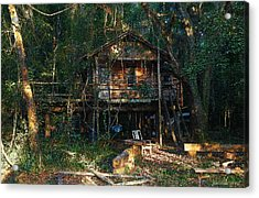 Cabin Fever Watercolor Acrylic Print by Joseph G Holland
