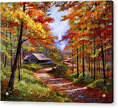 Cabin In The Woods Acrylic Print by David Lloyd Glover