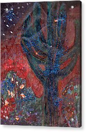 Cactus At Night In The Dark Yet Bright Acrylic Print by Anne-Elizabeth Whiteway