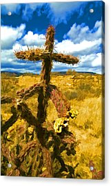Cactus Cross Acrylic Print by Lou  Novick