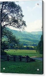 Cades Cabin View Acrylic Print by Laurie Perry
